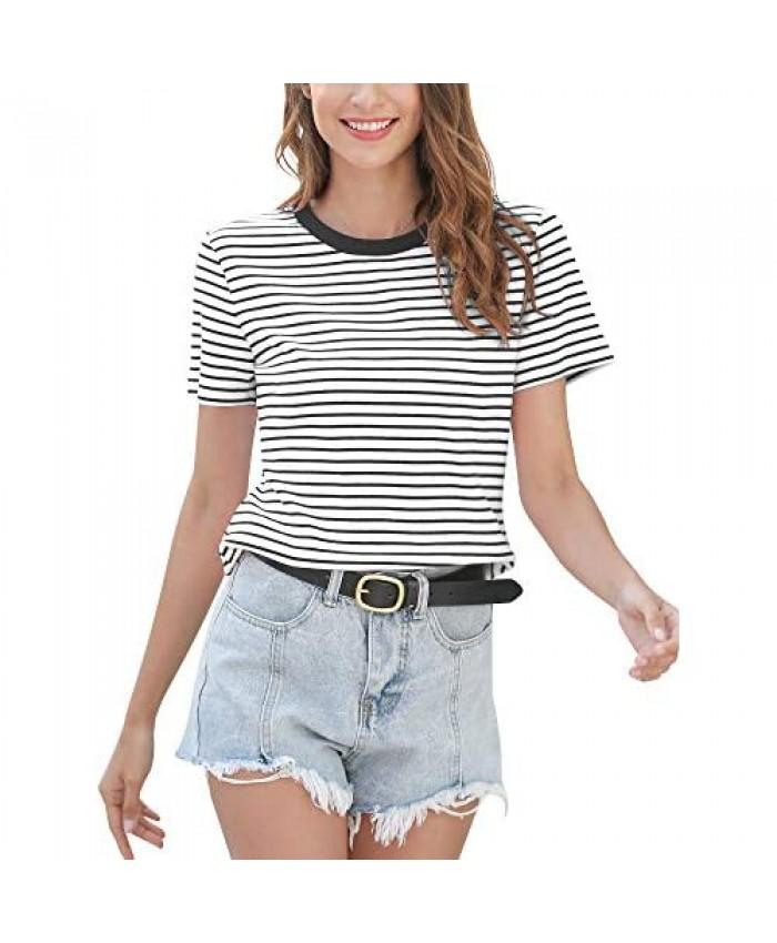 MessBebe Women Short Sleeve Top T Shirt Crew Neck Cotton Tee Striped Casual Shirt Summer