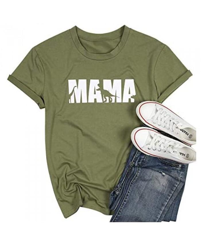 Mom Shirts for Women Mama Dinosaur Shirt Funny Saurus Graphic T Shirt Tee Casual Short Sleeve Tops