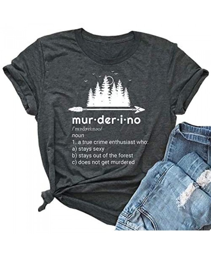 Murderino Shirts Funny Letter Print Graphic Tee My Favorite Murder T Shirt Casual Short Sleeve Tops