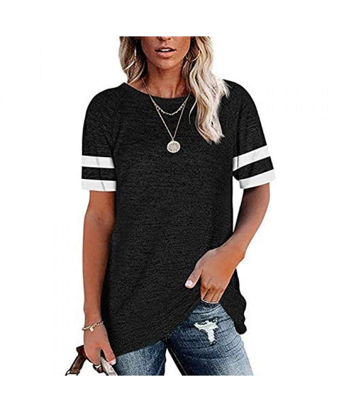 MZEAZRK Womens Casual T Shirts Crewneck Color Block Shirts Cute Short Sleeve Tee Tops Blouses