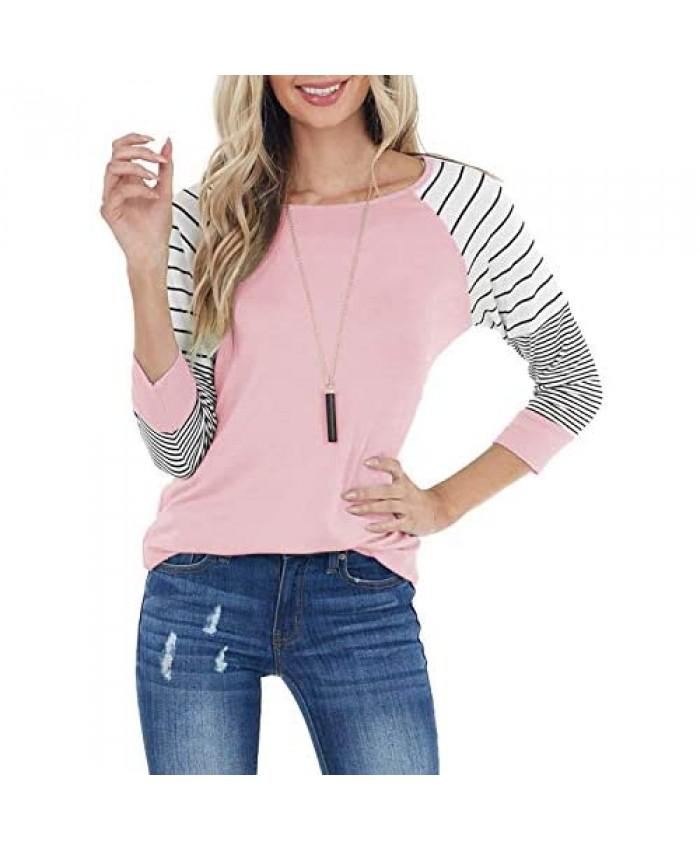 ReachMe Womens Striped 3/4 Sleeve Tops Casual Raglan Sleeve Shirts Round Neck Long Sleeve T Shirts Tee