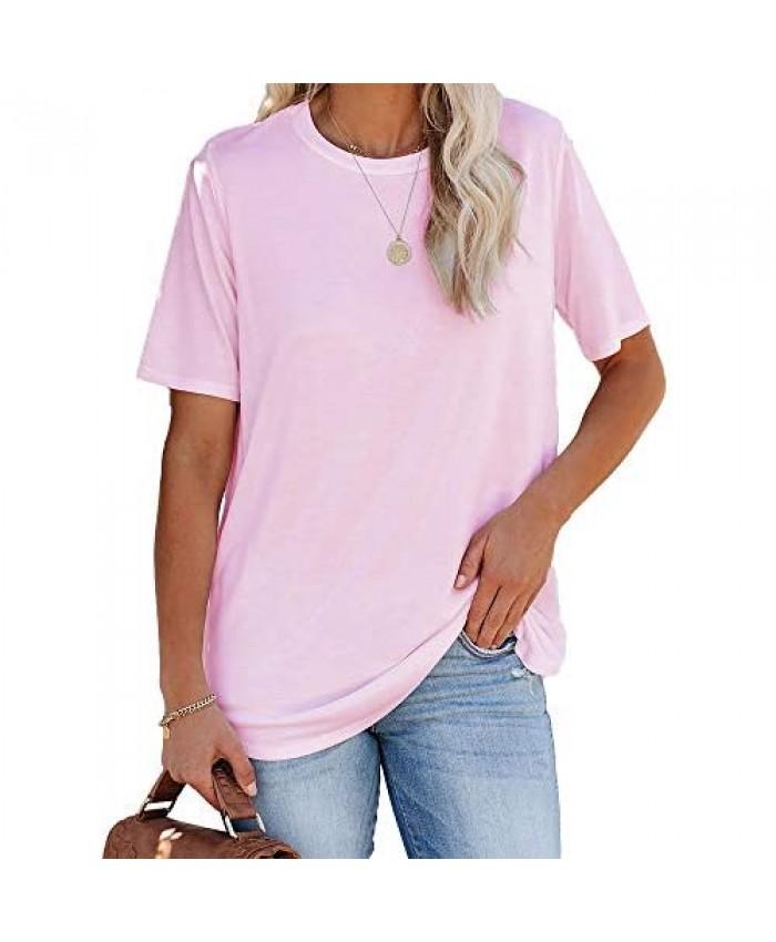 Remikstyt Womens Summer T Shirts Short Sleeve Basic Loose Plain Casual Tees Tops