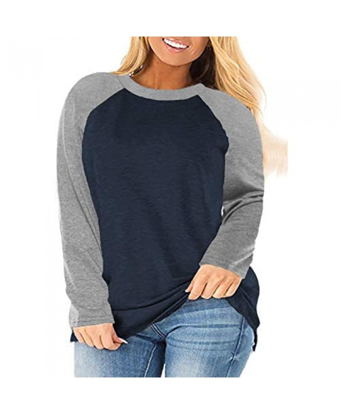 ROSRISS Plus-Size Tops for Women Long Sleeve Color Block Raglan Shirts