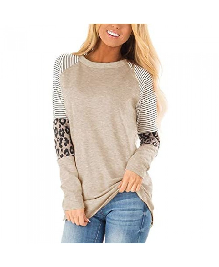 Sieanear Womens Tops Long Sleeve Striped Color Block Leopard Casual T Shirts Tunics