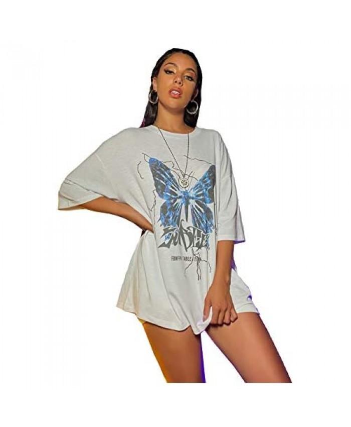 SOLY HUX Women's Butterfly Print Short Sleeve T-Shirt Casual Summer Tee Top