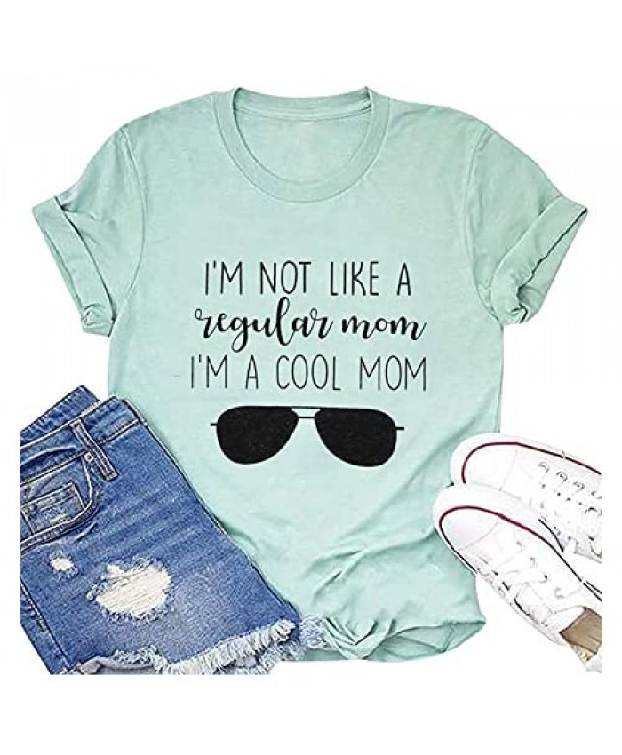 TAOHONG Mom Shirts with Sayings Women I'm A Cool Mom Shirts Mom Graphic Tee Funny Short Sleeve Top Tee Gifts Shirt
