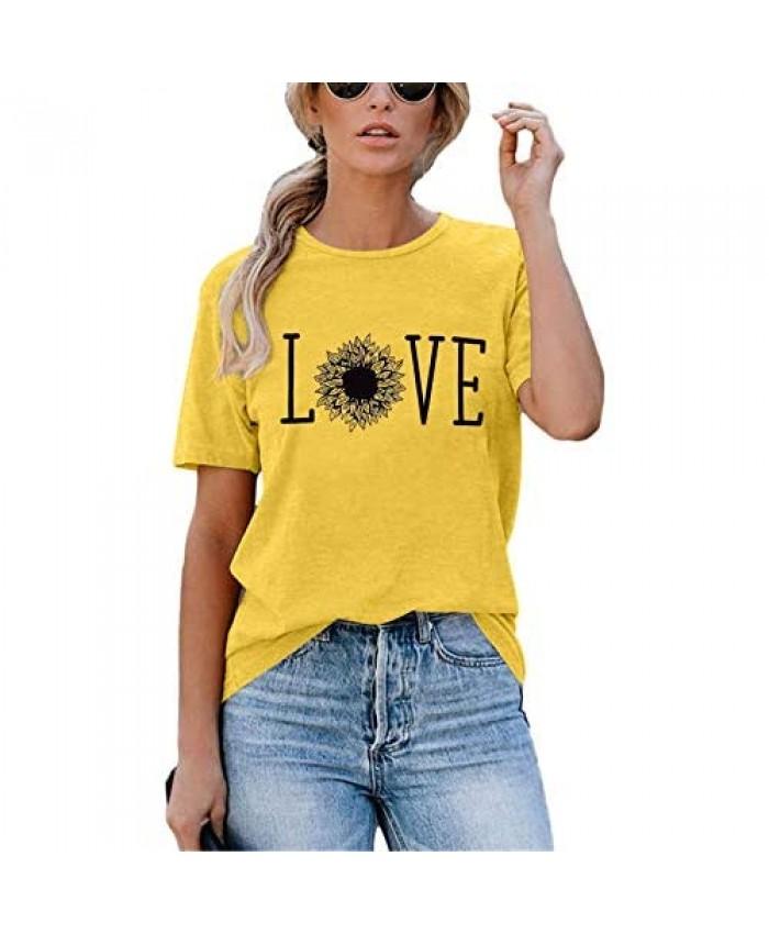 TAOHONG Sunflower T-Shirt Women Cute Flower Shirt Inspirational Graphic Tee Casual Short Sleeve Tee Top