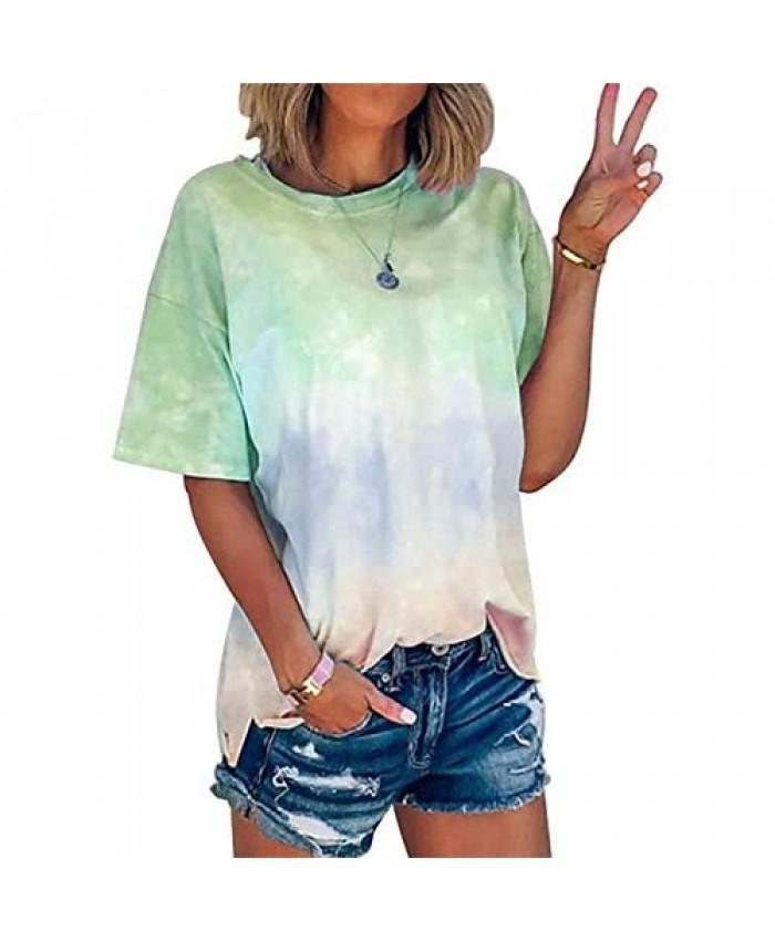 Women Gradient Color Shirt Tie Dye Print Short Sleeve T-Shirt Round Neck Summer Casual Loose Tee Tops
