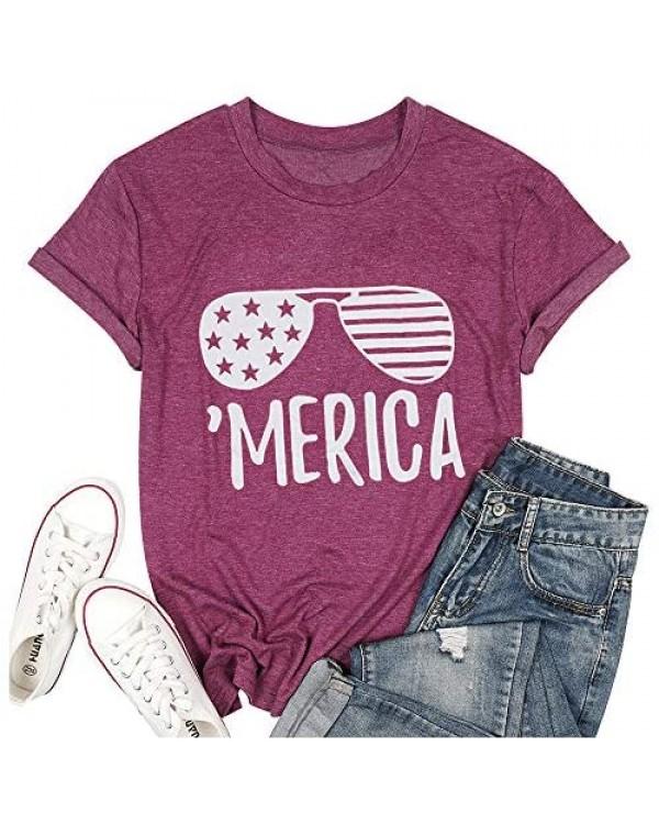 Women Trendy Merica Sunglasses 4th of July Patriotic Tee Tops USA Flag T-Shirt