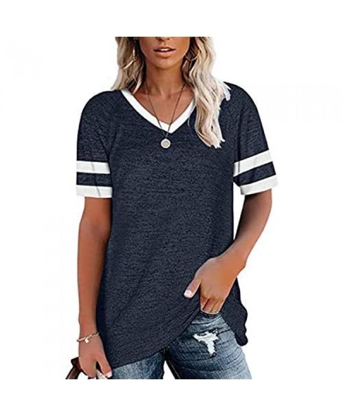 Women's Comfy Tee T-Shirt Casual Short Fashion Short Sleeve Loose Neck Top