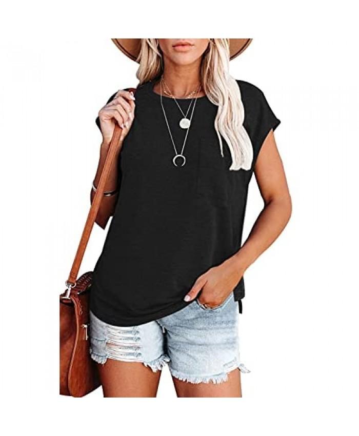 YUOIOYU Womens Summer T Shirts Casual Batwing Short Sleeve Side Split Pocket Tops Tee