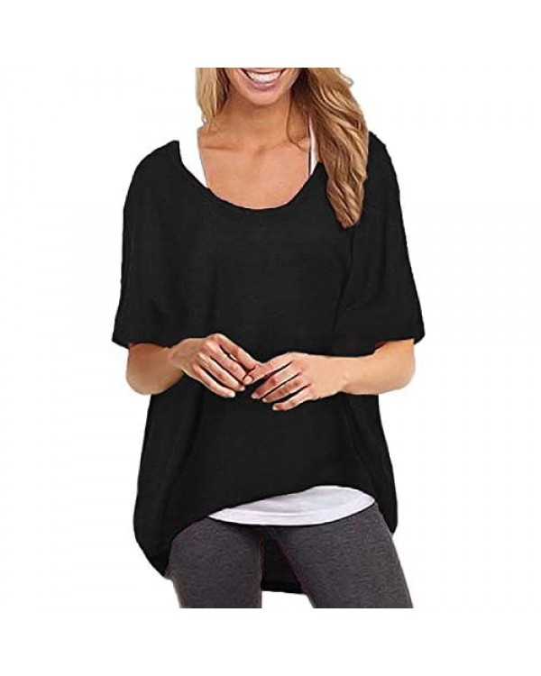 ZANZEA Women's Batwing Short Sleeve Casual Tops Off Shoulder Oversized Baggy Loose T-Shirt Pullover Shirts Blouse