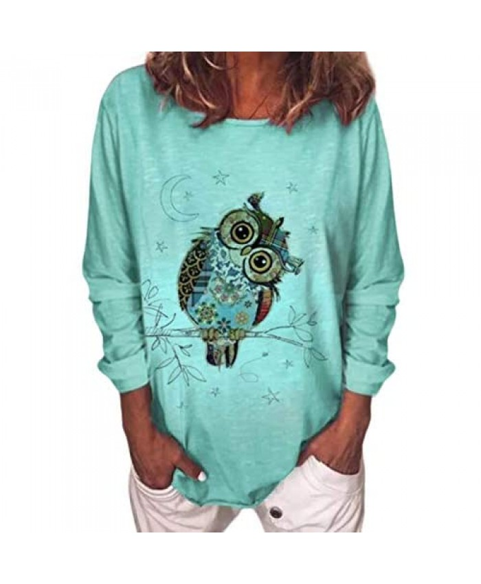 zeyubird Womens Spring Casual Owl Animal Print Cute Graphic Tees Long Sleeve T Shirts Tops for Women