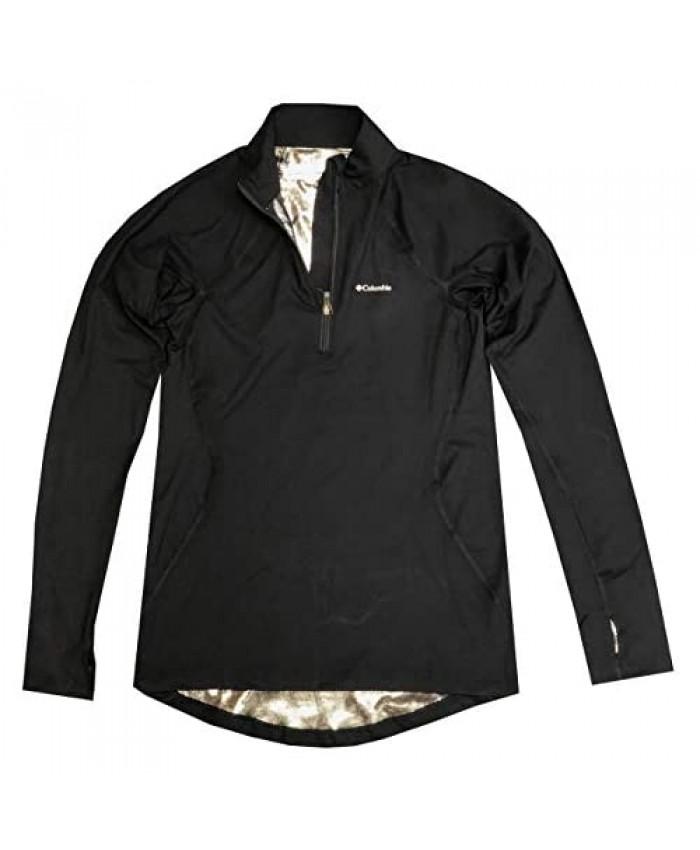 Columbia Womens Omni-Heat Midweight Baselayer Half-Zip Long Sleeve Shirt Blouse Black Small