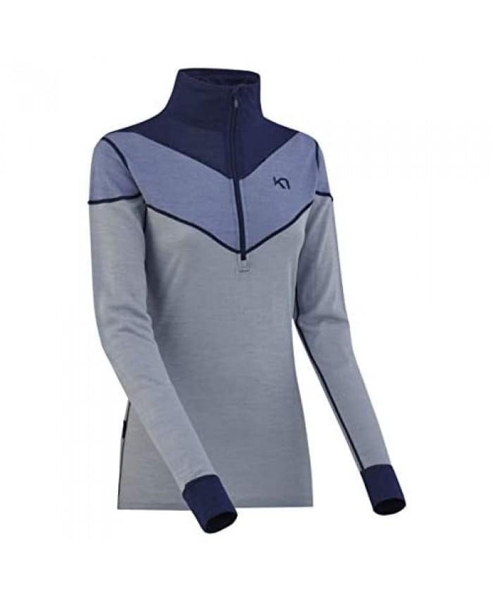 Kari Traa Women's Kink Base Layer Top - Half Zip Merino Wool Blend Thermal Shirt