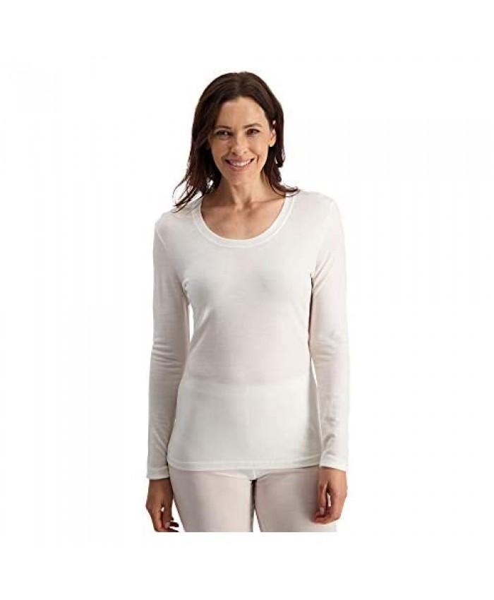 Ladies 100% Pure Soft Merino Thermal Base Layer Wool Crew Top Black or White