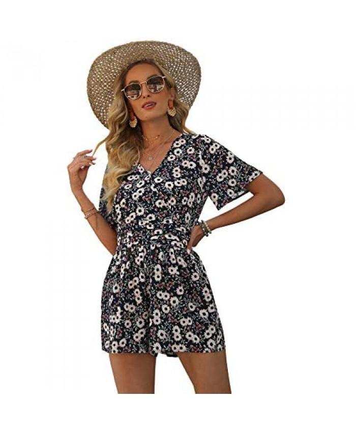 Bonkwa Women's Casual Floral Print Loose Romper Deep V Neck Short Sleeves Sexy Short Romper for Summer