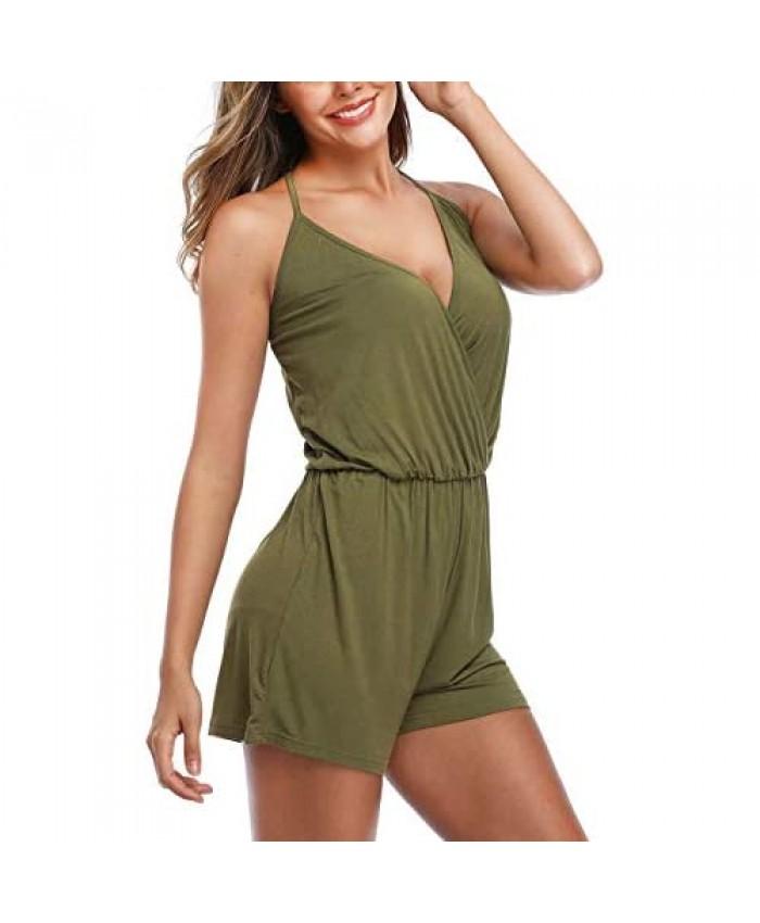 Dilgul Women's Halter Romper Sexy Summer V-Neck Spaghetti Strap Elastic Waist Open-Back Backless Short Jumpsuits