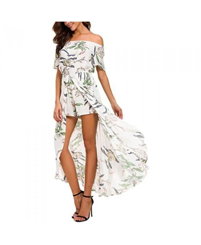 Kormei Womens Off Shoulder Short Sleeeve Floral Rayon Party Split Maxi Romper Dress
