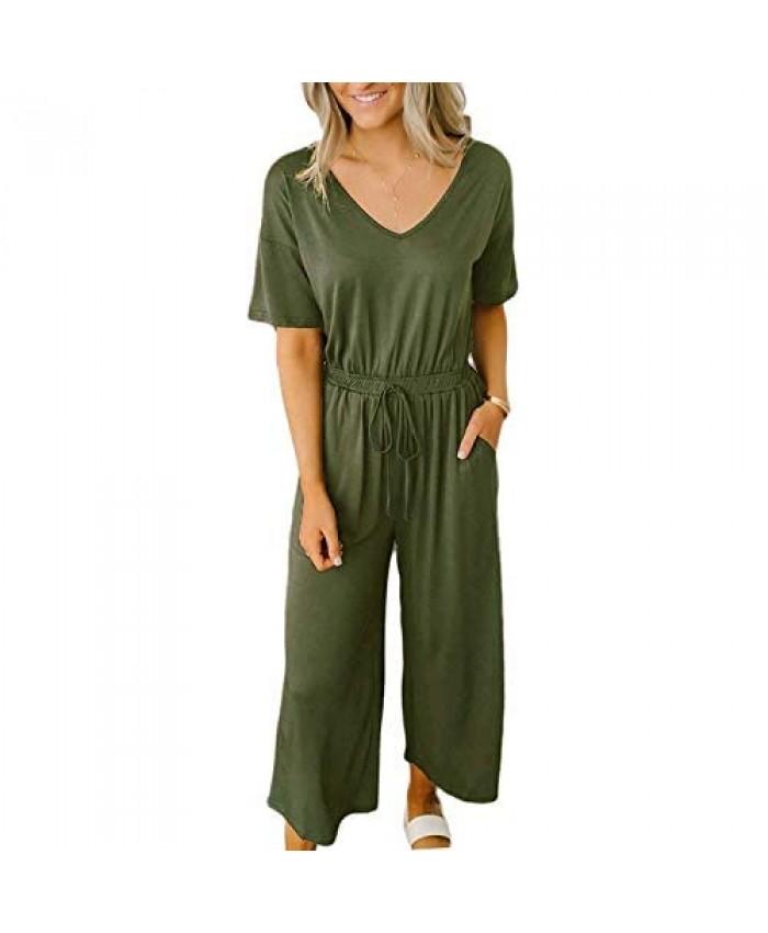 MILLCHIC Women's Sexy V Neck Jumpsuits Short Sleeve Drawstring Elastic Waist Wide Leg Jumpsuit Romper with Pockets