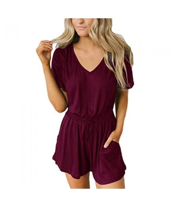 ODANEL Women's Sexy Deep V Neck Short Sleeve Drawstring Elastic Waist Shorts Jumpsuit Romper with Pockets