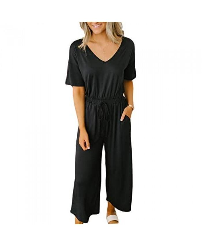 ODANEL Women's Summer Short Sleeve Jumpsuit V Neck Elastic Waist Jumpsuits Rompers with Pockets