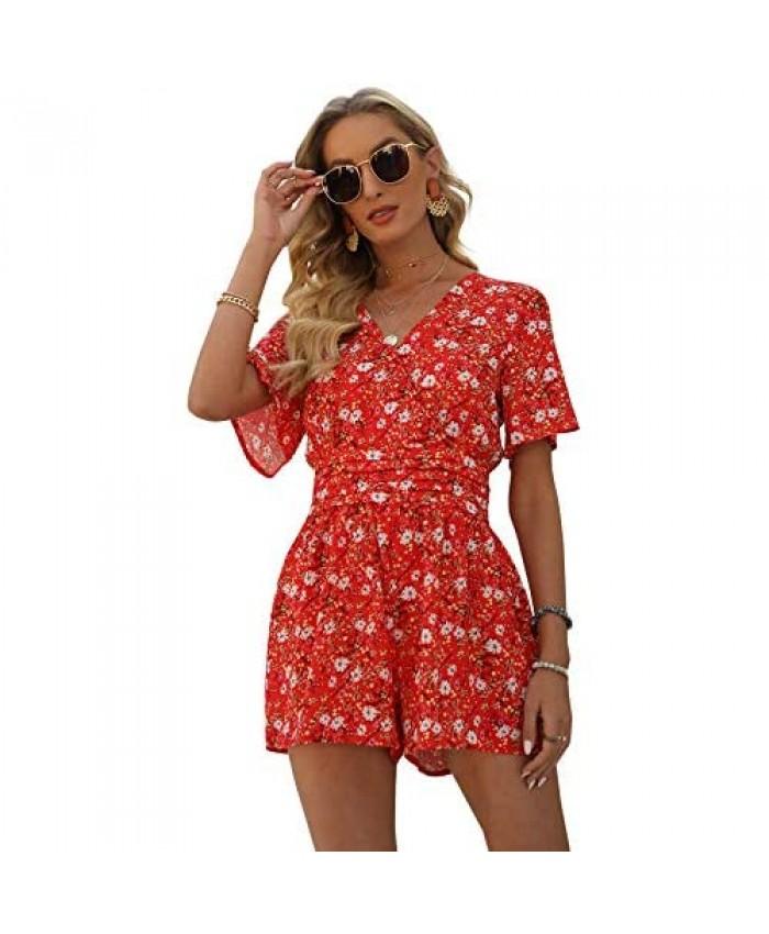 Relipop Women's Jumpsuit Floral Print V Neck Short Sleeve Casual Summer Rompers
