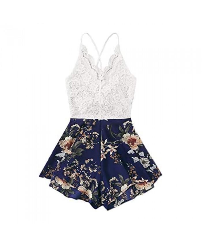 SheIn Women's Plus Criss Cross Tie Back Cami Romper Lace Floral Print Short Jumpsuit