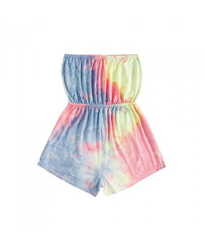 SweatyRocks Women's Sexy Off Shoulder Playsuit Strapless Shorts Jumpsuit Romper