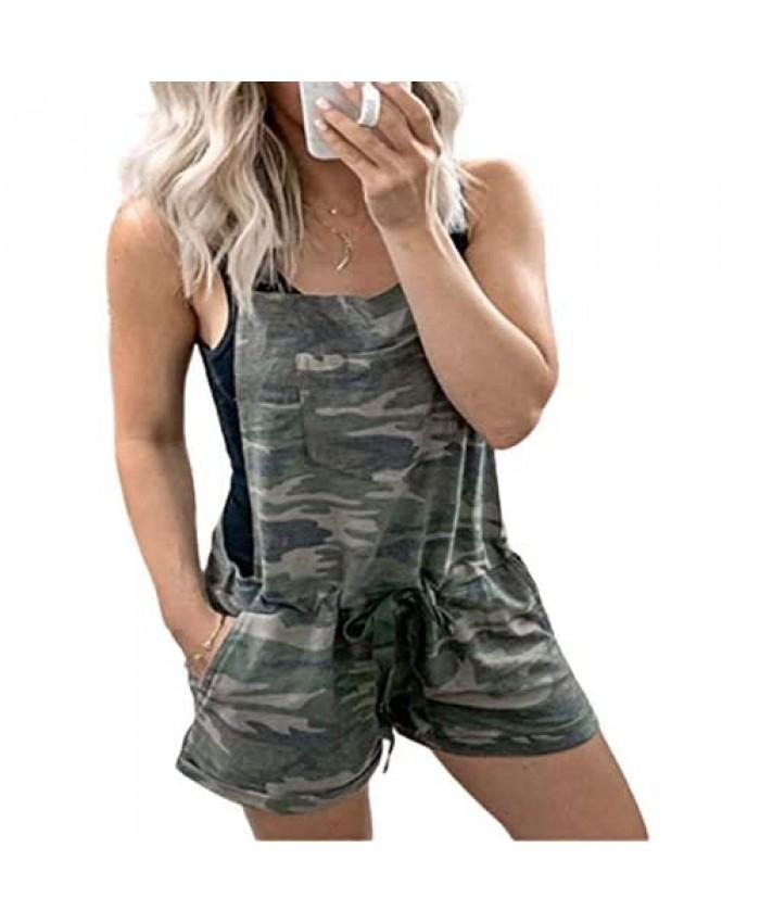 utcoco Women's Relaxed Fit Spaghetti Strap Sleeveless Drawstring Camo Jumper Short Jumpsuit Cami Romper Pants