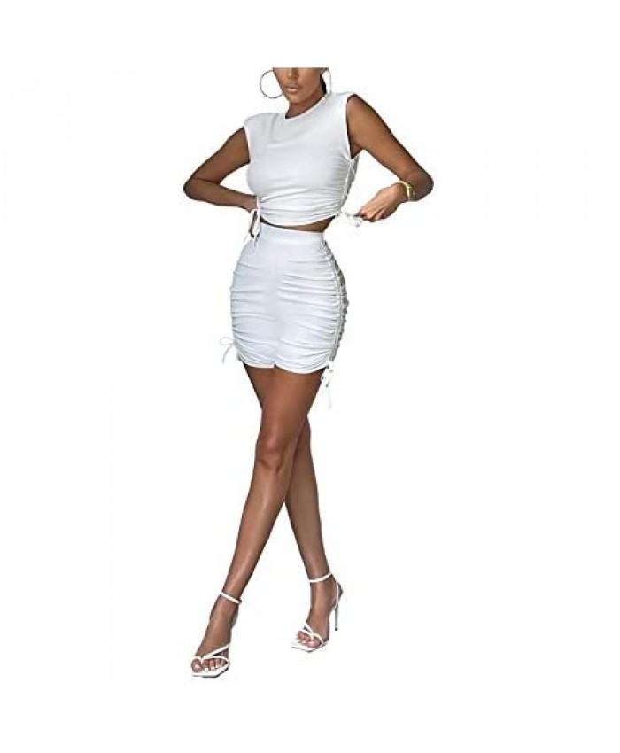 Women 2 Piece Drawstring Shorts Sets Sexy Sleeveless Ruched T-Shirt Tops Bodycon Shorts Tracksuit Workout Sets