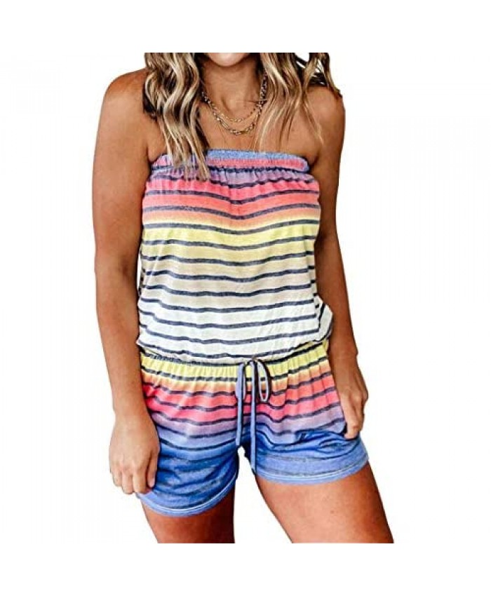 Women Colorful Striped Splicing Romper Gradient Color Drawstring Strapless Tube Top Summer Beachwear Off Shoulder Jumpsuits