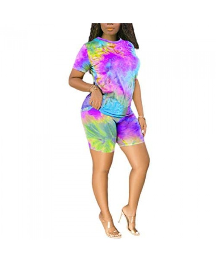 2 Piece Outfits For Women - Sexy Two Piece Sets Tie Dye Crop Top + Skinny Pants Jumpsuits