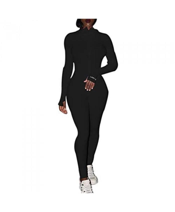 AvoDovA Women's One Piece Bodycon Jumpsuit Sexy Long Sleeve High Waist Embroidery Zipper Romper Clubwear