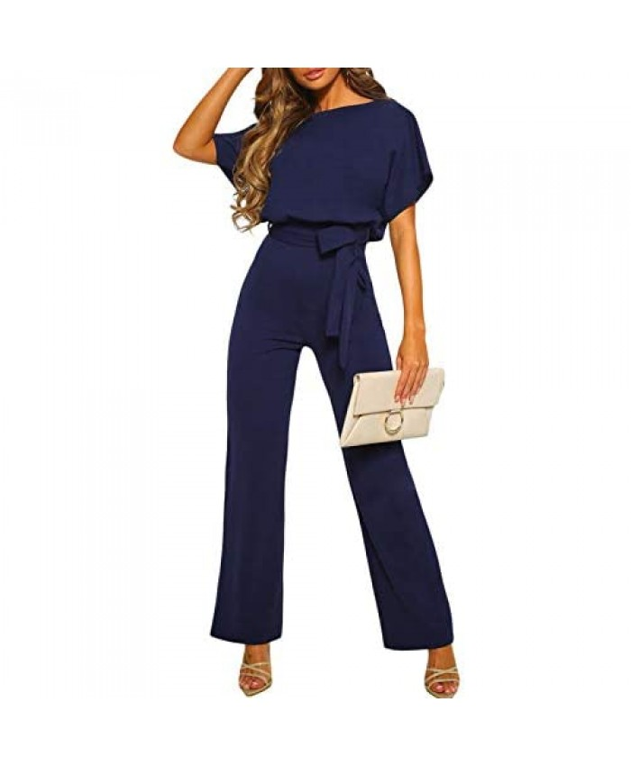 Bdcoco Womens Casual Short Sleeve Belted Jumpsuits Solid Wide Leg Pants Rompers