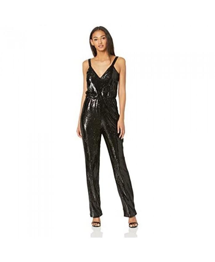 Dress the Population Women's Leigh Sleeveless Sequin Blouson Straight Leg Jumpsuit