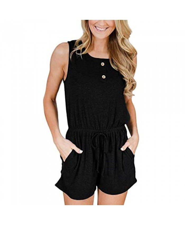Hiistandd Women Summer Jumpsuit Casual Round Neck Sleeveless Jumpsuit Elastic Waist Solid/Stripe Tank Top with Pockets