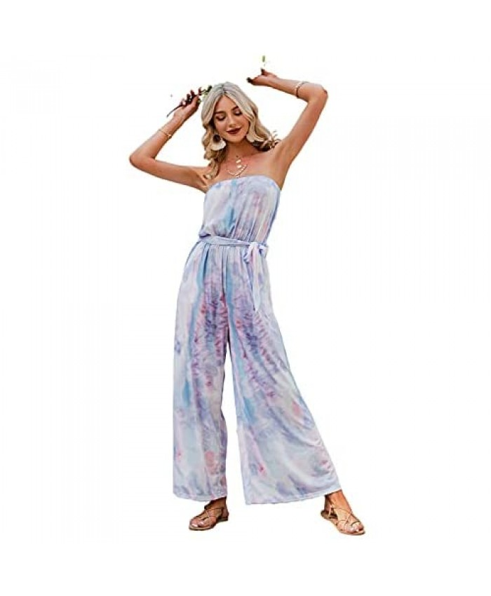 Narspeer Women's Casual Wide Leg Jumpsuit Printed Off The Shoulder Capri Rompers Strapless One Piece Long Pants with Pockets