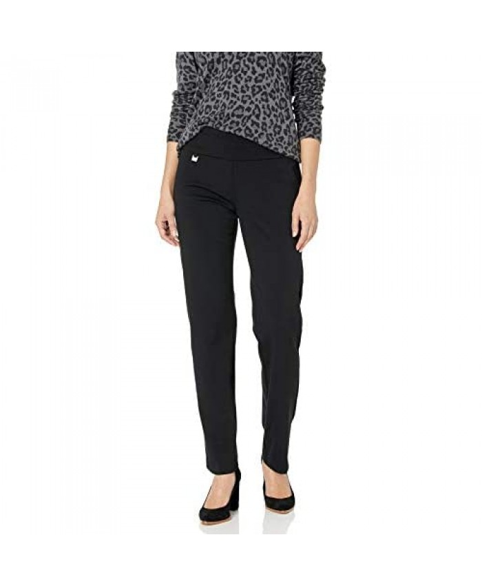 SLIM-SATION Women's Misses Pull On Solid Knit Flare Leg Pant with Tummy Panel