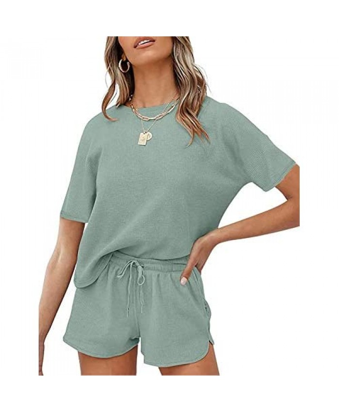 2 Piece Pajamas Set For Summer Waffle Knit Short Sleeve Top and Shorts Loungewear Athletic Tracksuits with Pockets