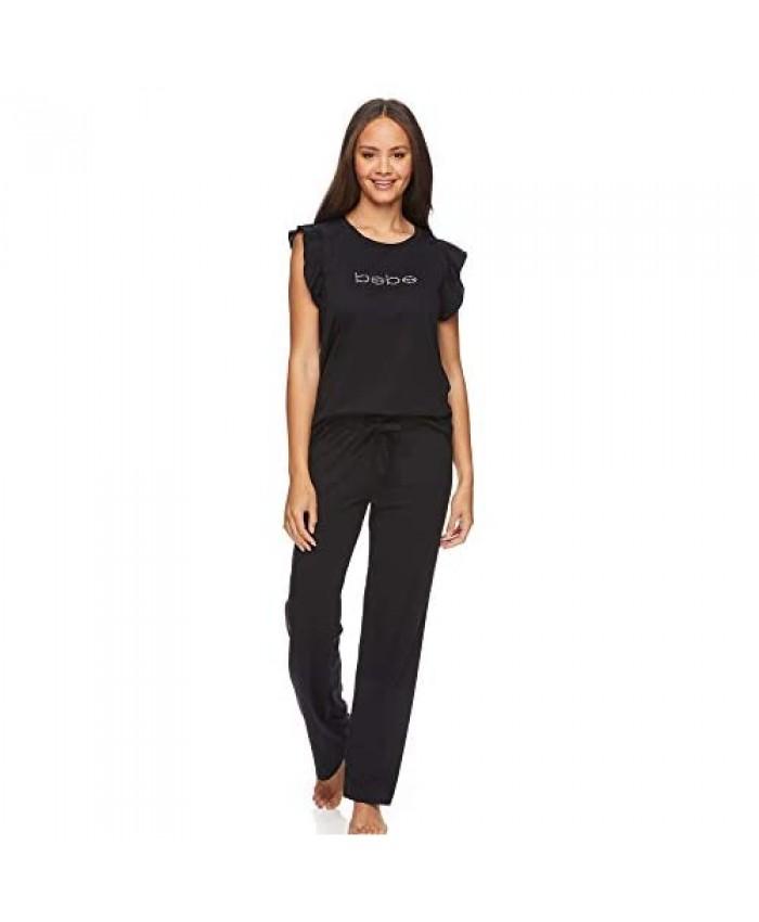 bebe Womens Pajama Sets Short Sleeve Lounge Shirt and Pajama Pants Sleepwear Set