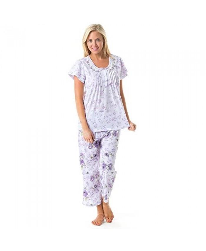 Casual Nights Women's Short Sleeve Floral Print Capri Pajama Set