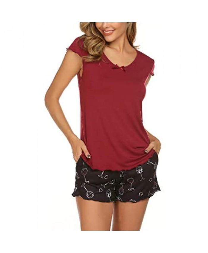 Ekouaer Womens Pajama Set with Print Short Sleeve Sleepwear Pj Lounge Sets(S-XXL)