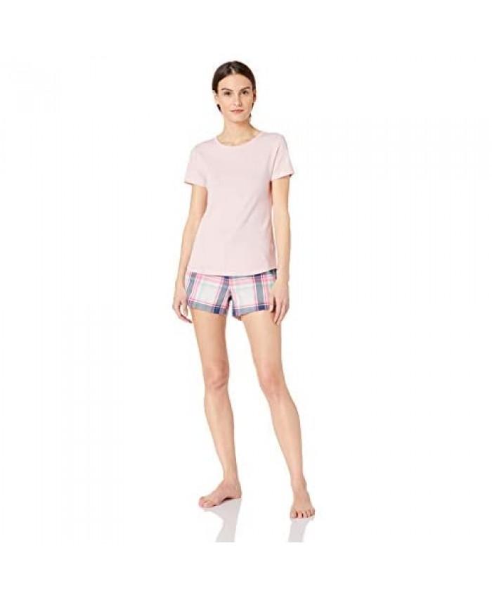 Essentials Women's Lightweight Flannel Short and Cotton T-Shirt Sleep Set