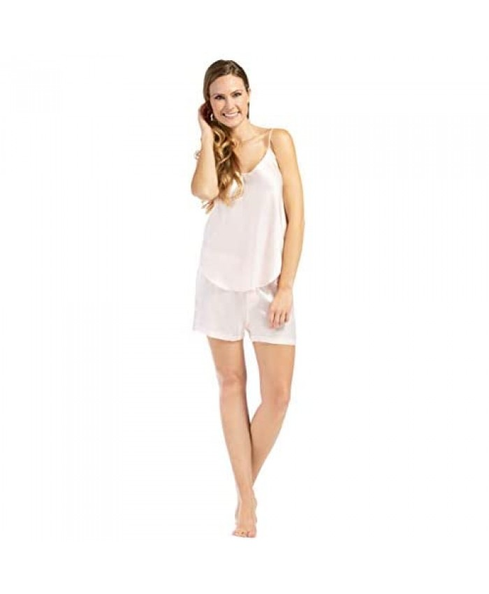 Fishers Finery Women's 100% Mulberry Silk Cami Boxer Pajama Set - Improved FIT