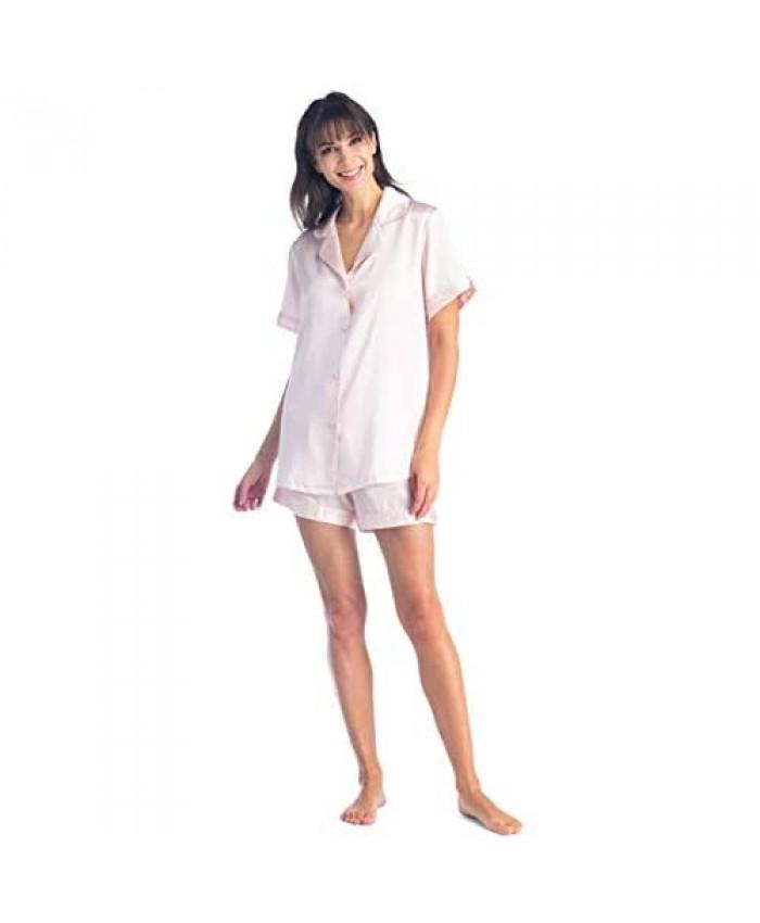 Fishers Finery Women's 100% Mulberry Silk Short Pajama Set; Short Sleeve