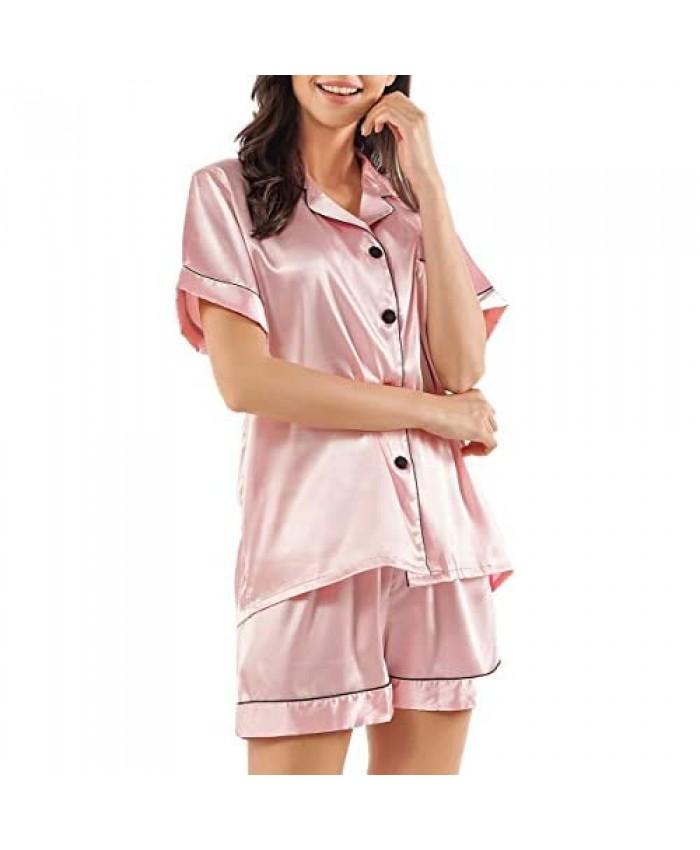 GAESHOW Satin Pajamas for Women Short Sleeve Silk Pajama Set with Shorts Two Piece Pj Sets Button-Down Sleepwear Loungewear