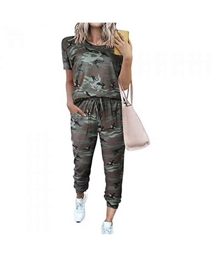 LOGENE Women's Two Piece Sweatsuits Short Sleeve Pullover Tops and Long Pants Lounge Sets Outfits