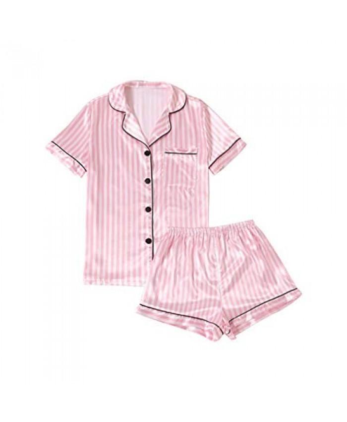 LYANER Women's Striped Silky Satin Pajamas Short Sleeve Top with Shorts Sleepwear PJ Set