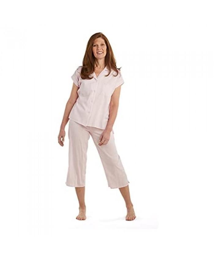 Miss Elaine Pajama Set - Women's Button-Down Cotton PJ Set Short Sleeves and V Neckline Elastic Waist